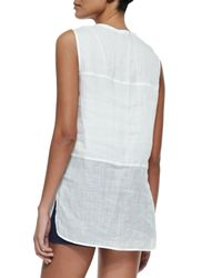 Vince - White Sleeveless Button-front Voile Blouse - Lyst