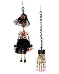 Betsey Johnson | Metallic Goldtone Skull Girl Mismatch Drop Earrings | Lyst
