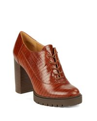 Nine West - Natural May Lace-up Block Heel Oxfords - Lyst