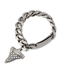 Givenchy Gray Gunmetal Shark Tooth Bracelet With Pearls