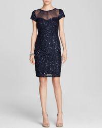 Adrianna Papell - Blue Dress Cap Sleeve Illusion Neck Sequin Sheath - Lyst