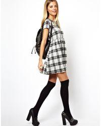 ASOS Black Smock Dress in Mono Check