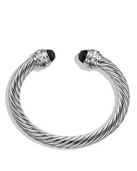David Yurman - Cable Classics Bracelet With Black Onyx And Diamonds, 7mm - Lyst