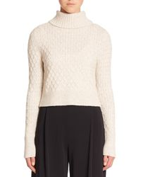 A.L.C. | Natural Jeannie Cabled Turtleneck Sweater | Lyst