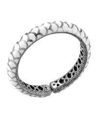 John Hardy - Metallic Naga Silver Enamel Slim Flex Cuff With White Enamel for Men - Lyst