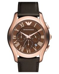 Emporio Armani Brown Round Chronograph Leather Strap Watch for men