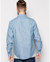 Lee Jeans - Shirt Button Down Blue Ice Indigo Chambray for Men - Lyst