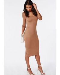 Missguided - Natural Bodycon Midi Dress Camel - Lyst