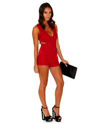 Missguided Caprica Floral Plunge Front Cut Out Playsuit in Red