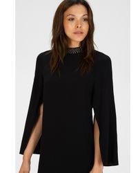 Warehouse Black Cape Sleeve Embellished Dress