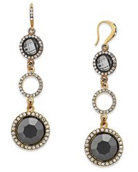 INC International Concepts | Metallic Gold-tone Hematite Stone Linear Drop Earrings | Lyst