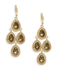 Cara | Metallic Pave Pear-shaped Chandelier Earrings | Lyst