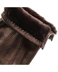 Black.co.uk Dark Brown Leather Gloves With Rabbit Fur Lining Description Delivery & Returns Reviews for men