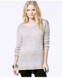 Sanctuary | Natural High-low Marled Pullover Sweater | Lyst