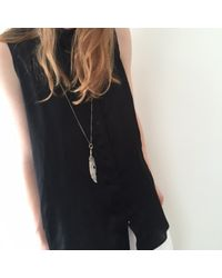 Ann Demeulemeester | Metallic Silver Feather Necklace | Lyst