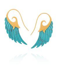 Noor Fares - Blue Wing 18-karat Gold Turquoise Earrings - Lyst