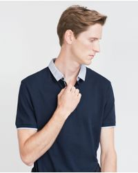 Zara | Blue Piqué Polo Shirt for Men | Lyst