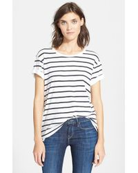 VINCE | White Feeder Stripe Tee | Lyst