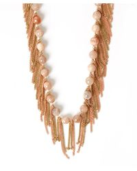 Rosantica - Metallic Rose Pearl Fringe California Necklace - Lyst