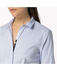 Tommy Hilfiger | Blue Cotton Poplin Stretch Shirt | Lyst