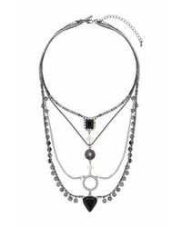 TOPSHOP | Black Facet Charm Ladder Multi-row Necklace | Lyst