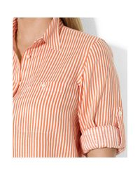 Lauren by Ralph Lauren | Pink Plus Size Rolltabsleeve Striped Linen Shirt | Lyst