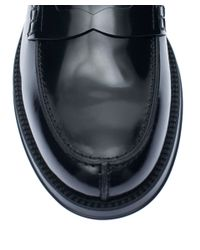 Tod's Black Leather Mocattino Gomma Penny Loafer