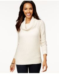 DKNY White Striped Cowl-neck Sweater