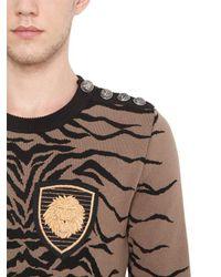 Balmain Brown Badge-appliqué Tiger Sweater for men