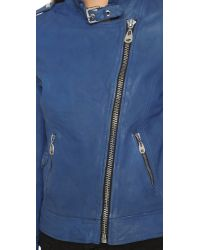 Doma Leather | Blue Leather Moto Jacket | Lyst