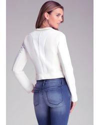 Bebe | White Sculpted Scuba Mesh Jacket | Lyst