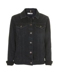 TOPSHOP Black Moto Tarot Denim Jacket