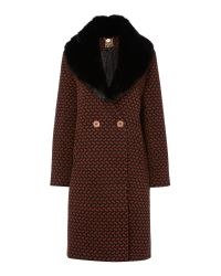Biba - Brown Deco Print Detachable Collar Coat - Lyst