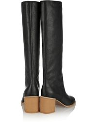 See By Chloé - Black Textured-Leather Knee Boots - Lyst
