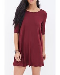 Forever 21 Red Knit T-Shirt Dress