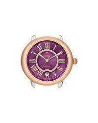 Michele - Serein 16 Two-tone Rose Gold Purple Diamond Dial Watch Head, 34mm - Lyst