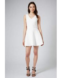 TOPSHOP - White Cut-Out Skater Dress - Lyst