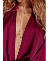 Missguided - Metallic Peace + Love Thin Tiered Body Chain Gold - Lyst