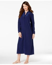 69cf8ba97c Lyst - Miss Elaine Brushed Back Terry Long Zip-up Robe in Blue