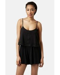 TOPSHOP | Black Lace Trim Overlay Romper | Lyst