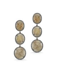 Anne Sisteron | 14kt Yellow Gold Sapphire Diamond Triple Drop Earrings | Lyst