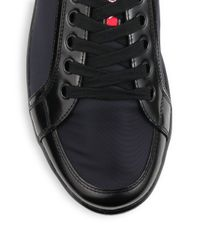 Prada | Blue Leather Laceup Sneakers for Men | Lyst