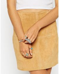 ASOS - Multicolor Eagle Stone Ring Pack - Lyst