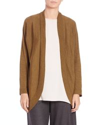 Eileen Fisher | Gold Wool Jersey Oval Cardigan | Lyst