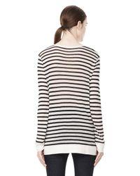 Alexander Wang | Black Stripe Linen Long Sleeve Tee | Lyst