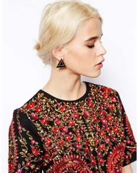 ASOS | Black Twisted Oversize Occasion Swing Earrings | Lyst