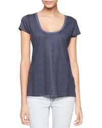 Calvin Klein Jeans | Blue Textured Scoopneck Tee | Lyst