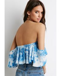 Forever 21 Blue Tie-dye Off-the-shoulder Top