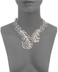 Cara | Metallic Rhinestone Leave Collar Necklace | Lyst