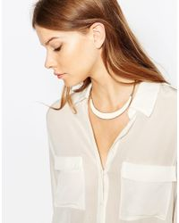 Pieces - Metallic Tory Plate Necklace - Lyst